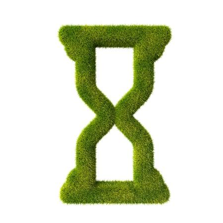 sandglass: Grass hourglass icon Stock Photo