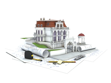 architectural: House design progress, architecture drawing and visualization Stock Photo