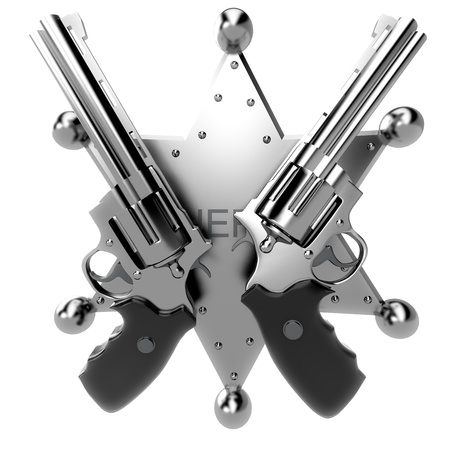 gunslinger: Two revolvers and sheriff sign