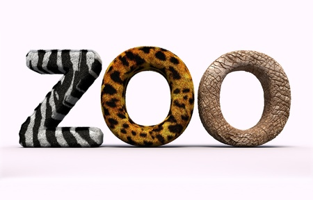 Word zoo with fur letters  Stock Photo