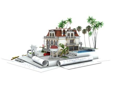 prefabricated buildings: Casa avances de dise�o, visualizaci�n de la arquitectura Foto de archivo