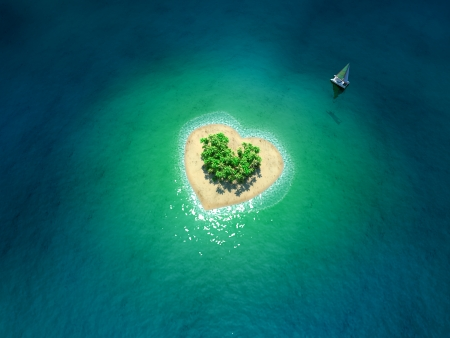 Tropical Island in form of heart Banco de Imagens