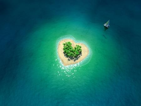 Tropisch Eiland in de vorm van hart