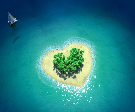 Tropical Island in form of heart photo