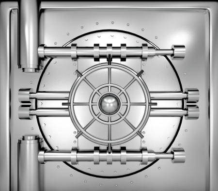 combination: illustration of bank vault door, front view