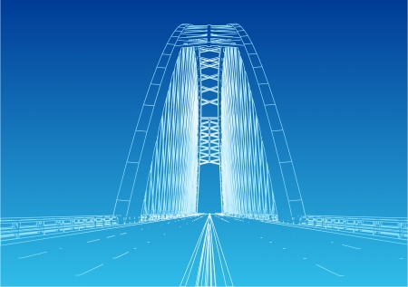 viaduct: Silhouette of golden gate bridge Illustration