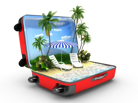 open suitcase: Open baggage, vacation concept Stock Photo