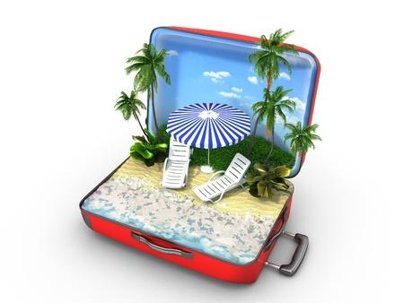 Open baggage, vacation concept Standard-Bild