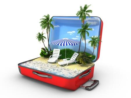 Open bagage, vakantie concept