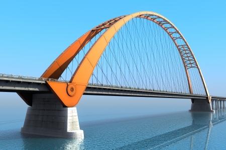 Bridge over the ocean  3d illustration Stock Photo