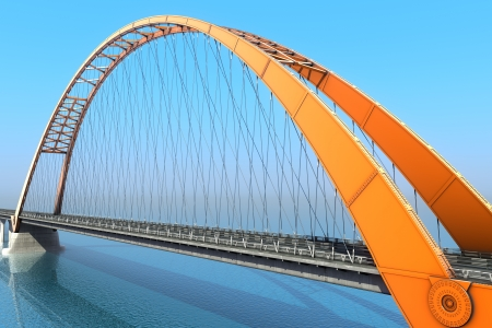 bridge construction: Bridge over the ocean  3d illustration Stock Photo
