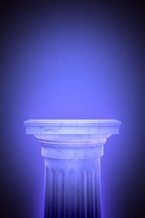grecian: Single greek column isolated on blue