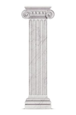 Single greek column isolated on white