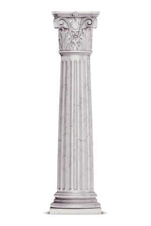 marble: Single greek column isolated on white