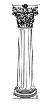 arte greca: Singola colonna greca isolato su bianco