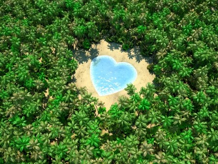 Tropical lake in form of heart on jungle