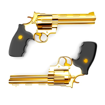 Golden revolver gun photo