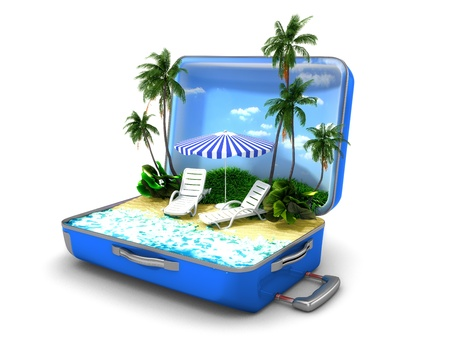 Package beach vacation Stock Photo