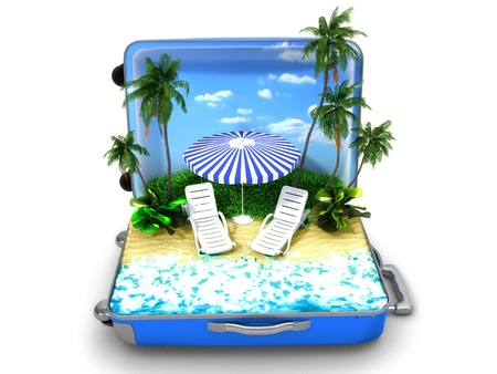 trolley case: Package beach vacation Stock Photo