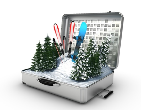 icebox: suitcase ski and snowboard with snow inside