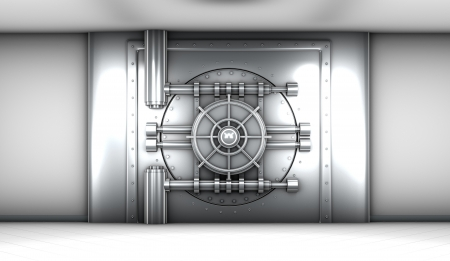 illustration of bank vault door, front view