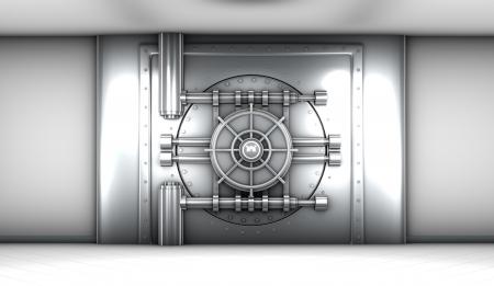 money vault: illustration of bank vault door, front view