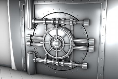 illustration de la porte coffre de banque, vue de face