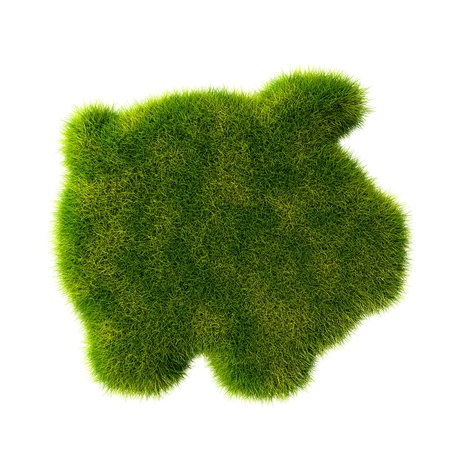 Grass covered piggy bank photo