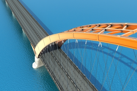 Bridge over the ocean  3d illustration Banco de Imagens