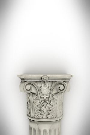 Single greek column isolated on white photo