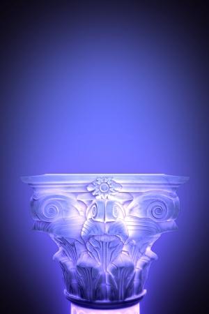Single greek column isolated on blue Stock Photo - 19884516