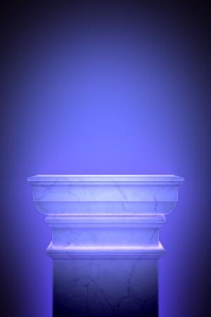 Single greek column isolated on blue photo