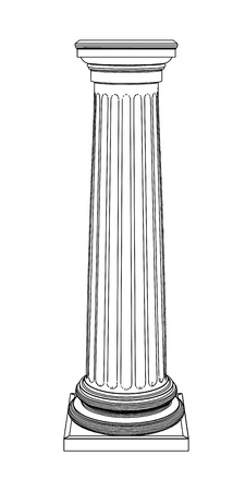 romanesque: Single greek column isolated on white
