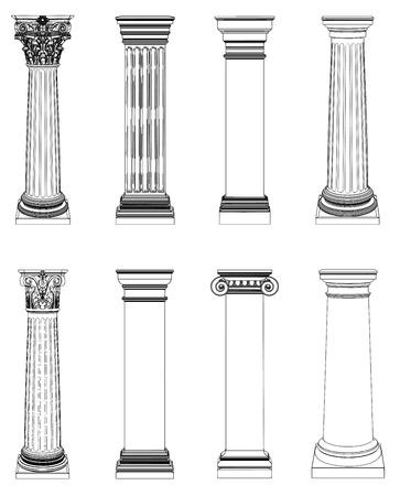 Enkele Griekse kolom op wit wordt geïsoleerd