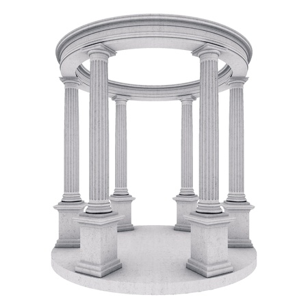 Single greek column isolated on white photo