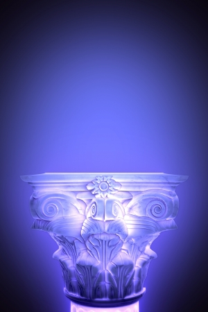 doric: Single greek column isolated on blue