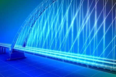 wharf: wireframe 3d  render of a bridge
