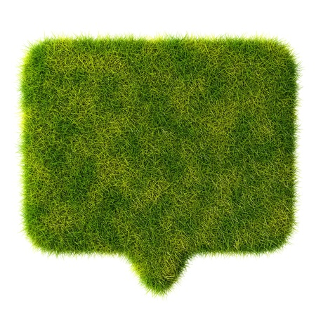 3d green grass bubble talk on white background Stock Photo - 20077202