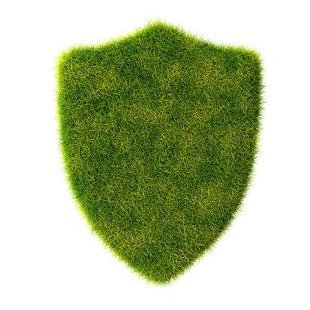 vintage badge: Green organic shield grass