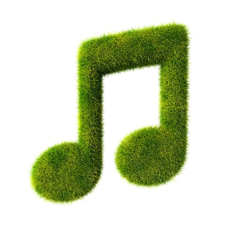 music 3d: Green music note  Eco music fest sign made of grass, leaves