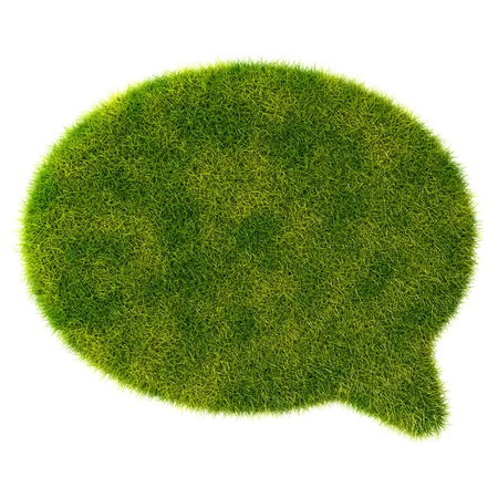 3d green grass bubble talk on white background Stock Photo - 20077200