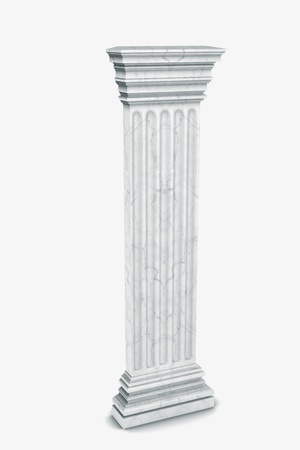 permanent: Single greek column isolated on white
