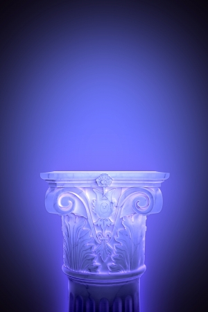 permanent: Single greek column isolated on blue