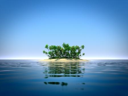 blue lagoon: Isola tropicale nell'oceano Archivio Fotografico