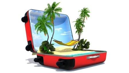 Open baggage, vacation concept photo