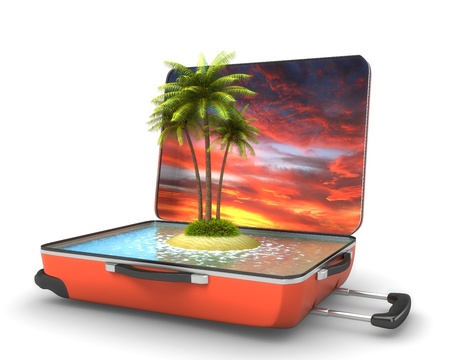 vanity: Open suitcase with tropical island at evening