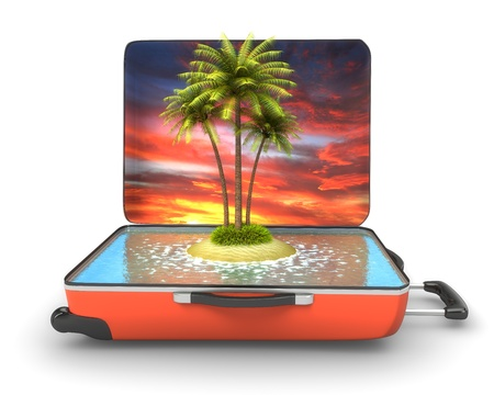 Open suitcase with tropical island at evening photo