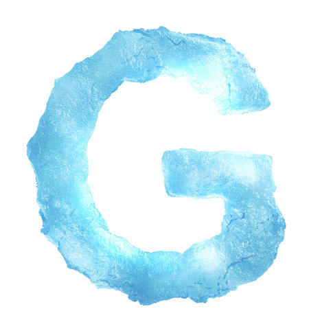 Ice Letter isolated on white background photo