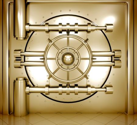 money vault: 3d illustration of bank vault door, front view