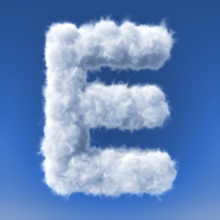 Clouds in shape of the letter 3d render 写真素材